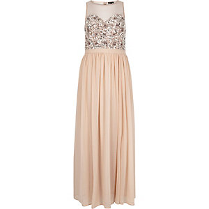 Light pink embellished maxi dress