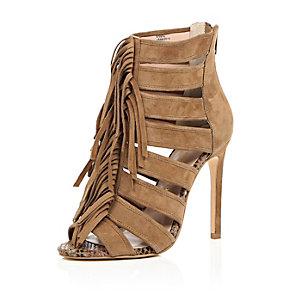 Brown suede tassel heels