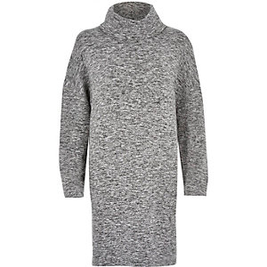 Grey cowl neck T-shirt dress