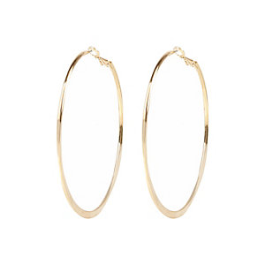 Gold color medium flat bottom hoop earrings