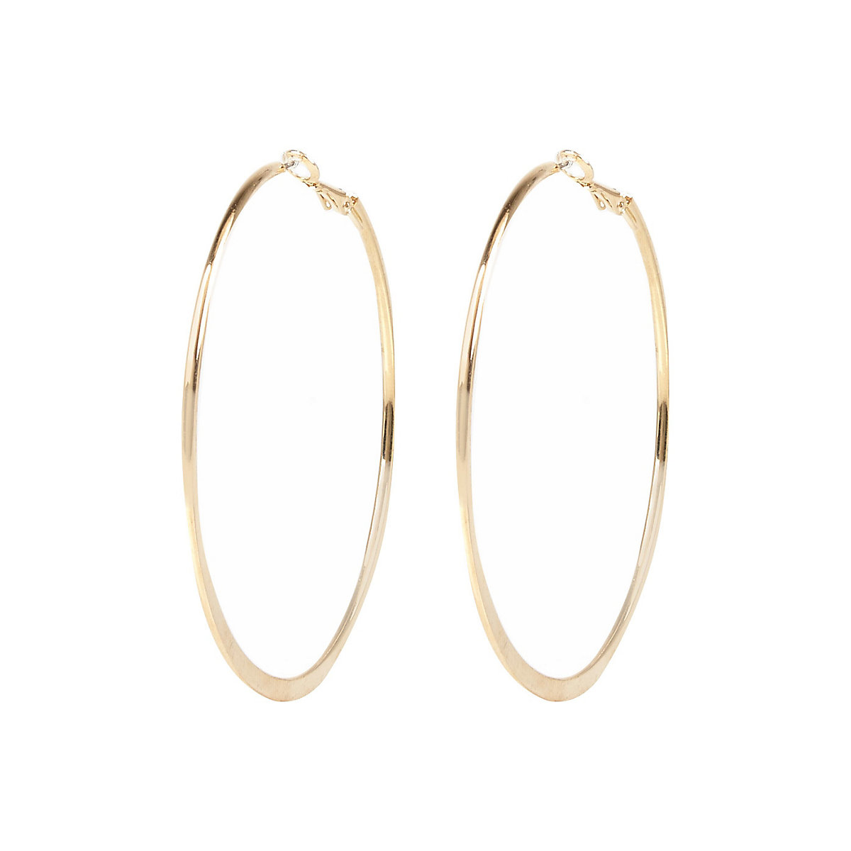 Gold colour medium flat bottom hoop earrings