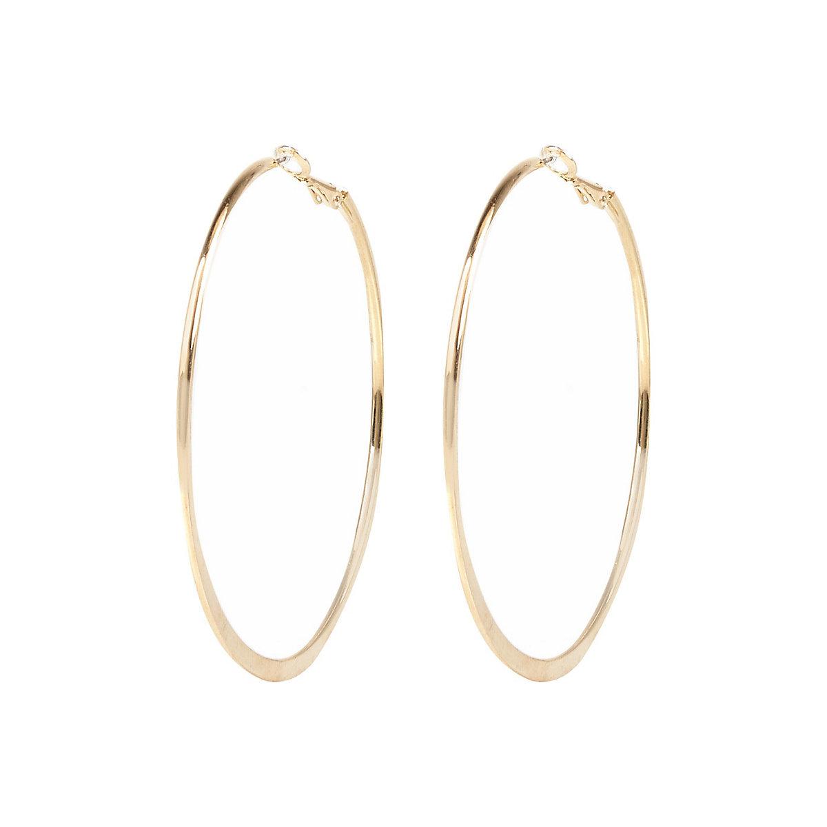 Gold color medium flat bottom hoop earrings
