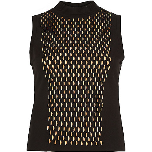 Black knitted eyelet front sleeveless top