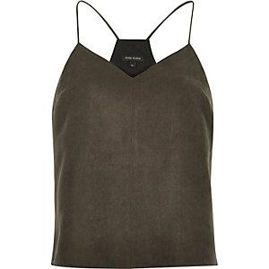 Dark brown faux suede cami