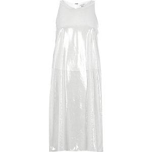 Silver double layer split back longline vest