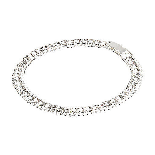 Silver tone rhinestone encrusted bracelet