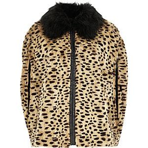 Brown leopard print faux fur cape