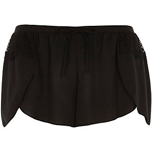 Black lace detail pajama shorts