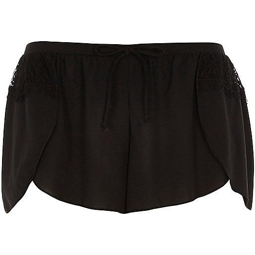 Black lace detail pajama shorts