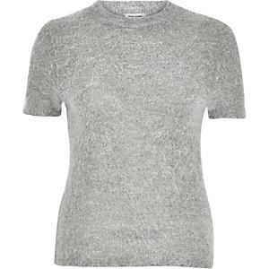 T-shirt duveteux ajusté gris