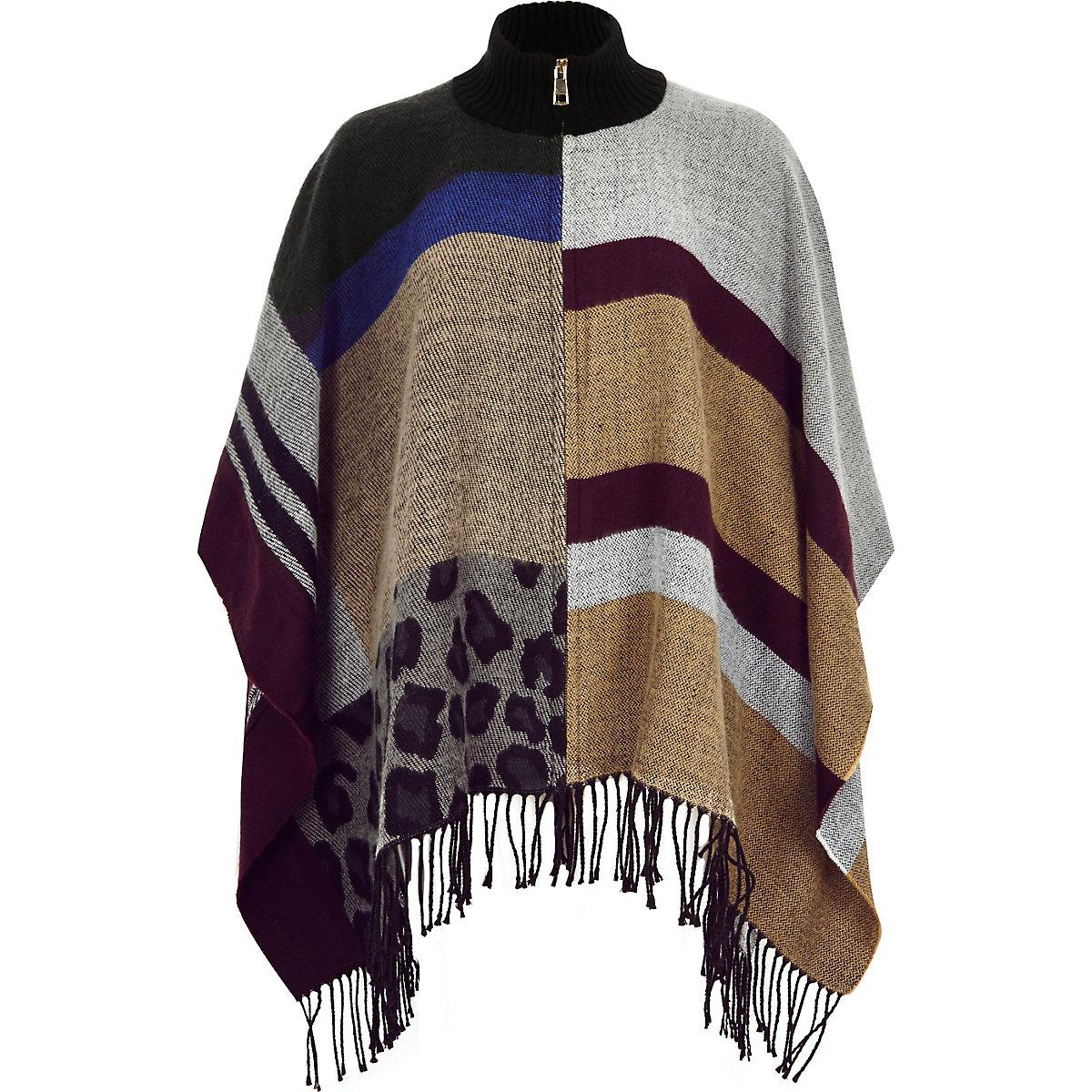 Brown patchwork zip-up cape