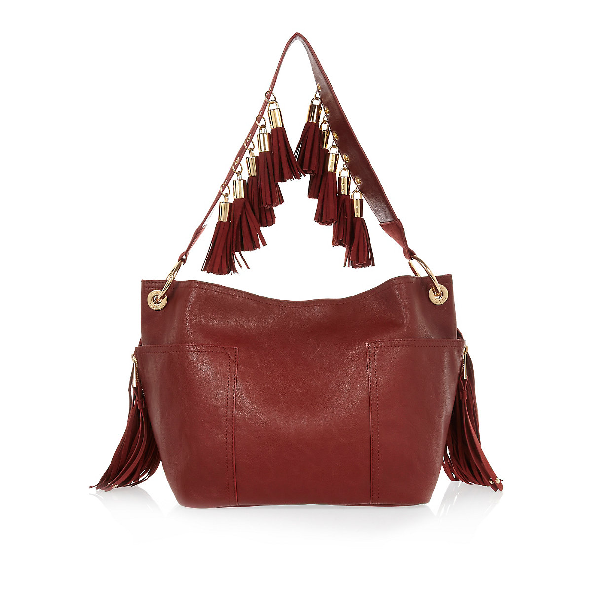Dark Red Faux Suede Tassel Bucket Handbag