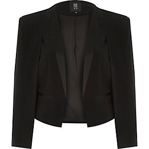 Black RI Studio cropped tuxedo cape jacket