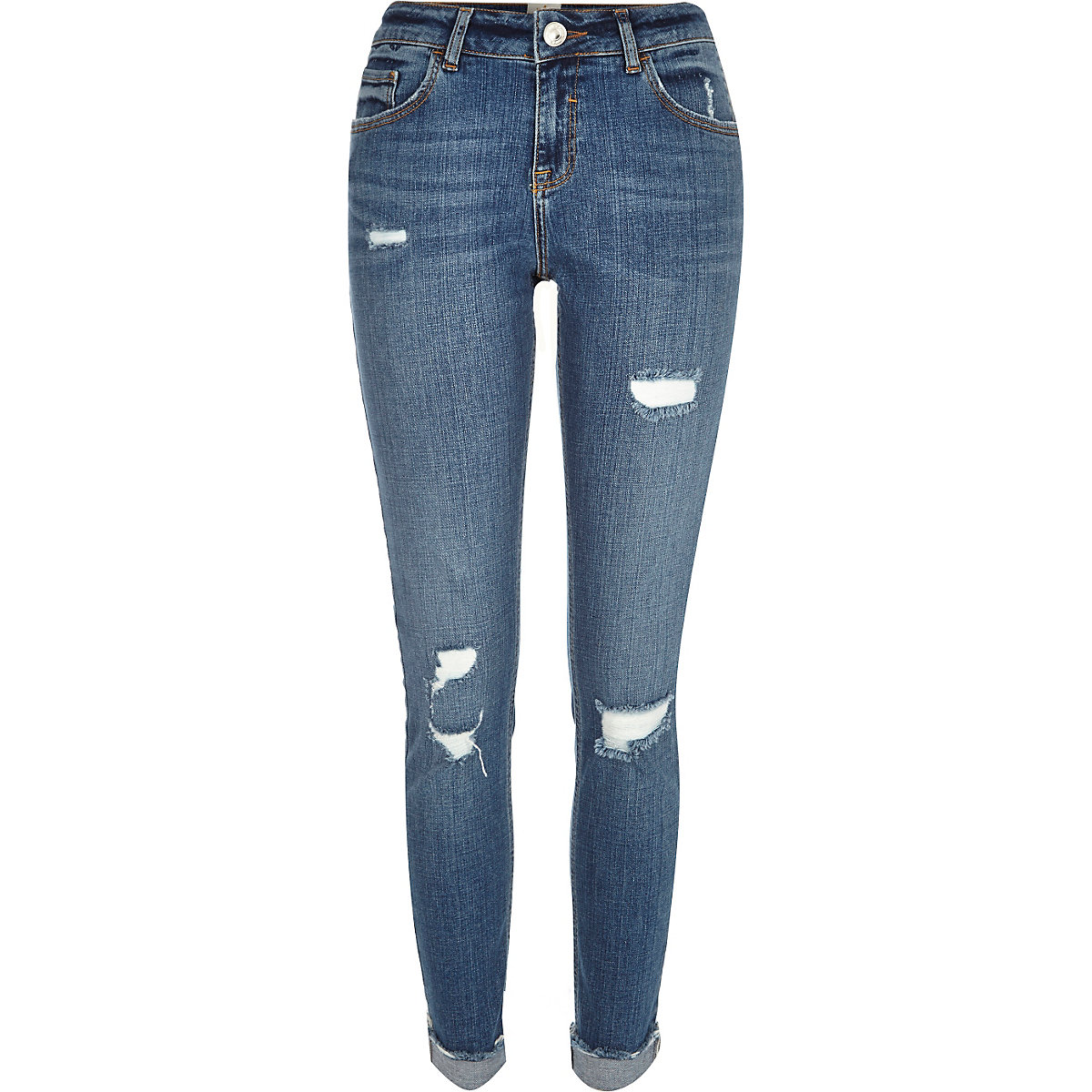 Mid blue wash dripped Matilda mid rise jeans