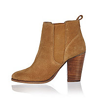 Tan suede heeled ankle boots