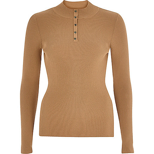 Dark beige knitted ribbed button neck top