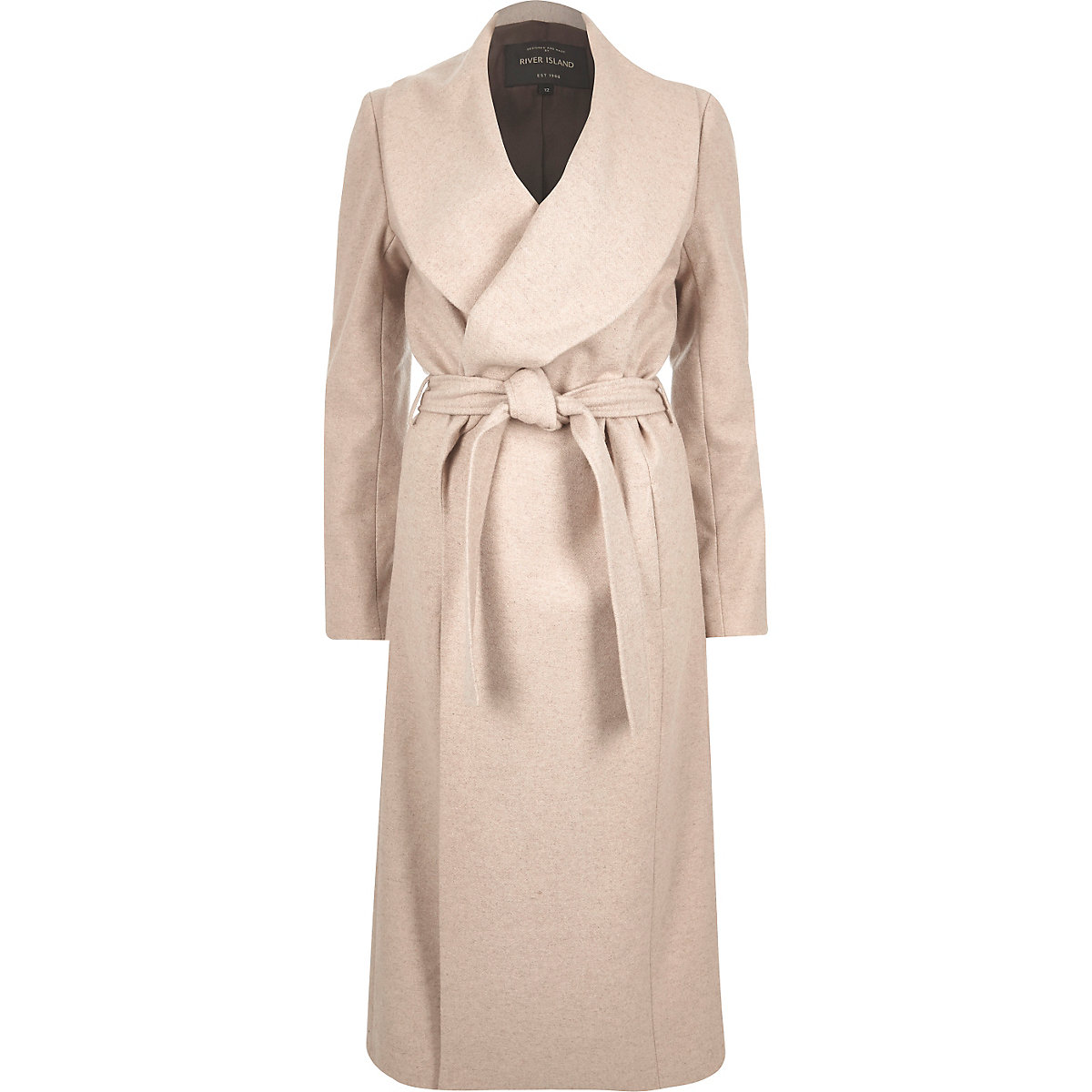 Beige wool-blend belted wrap winter coat