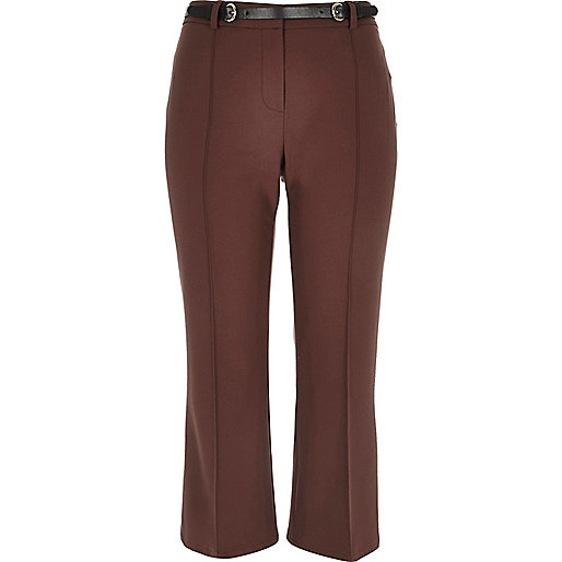 Brown cropped kick flare trousers