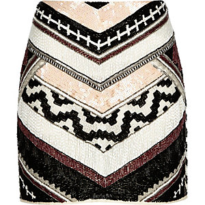 Black chevron print beaded mini skirt
