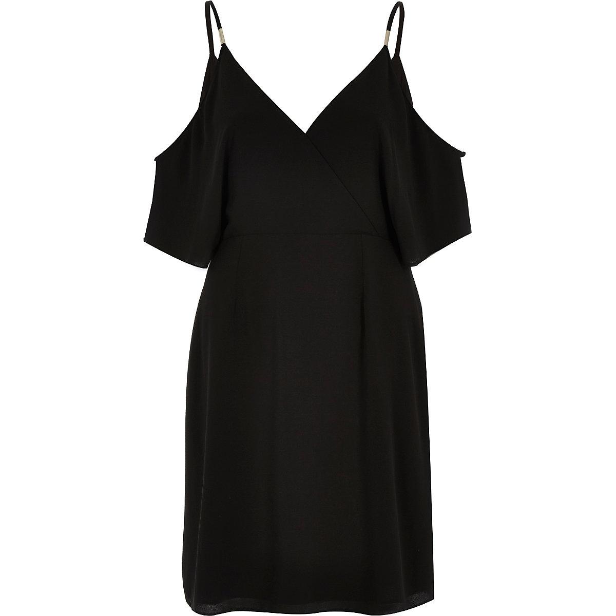 Black cold shoulder wrap dress