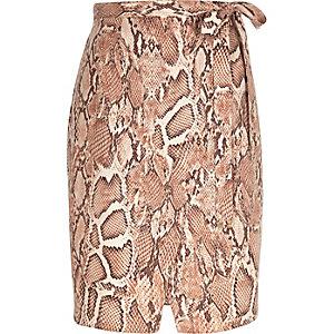 Pink snake print tie side skirt