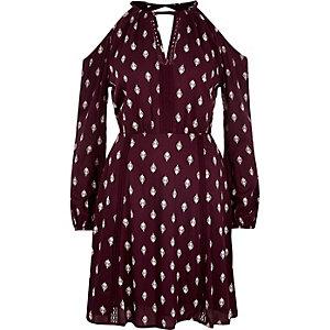 Red printed cold shoulder dress
