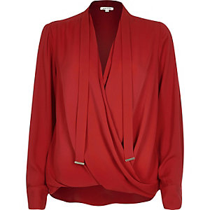 Red long sleeve pussybow wrap blouse