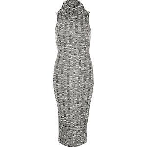 Grey marl cowl neck bodycon dress