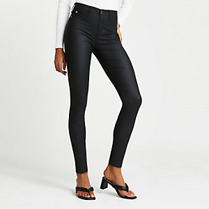 Molly - Zwarte jegging met coating