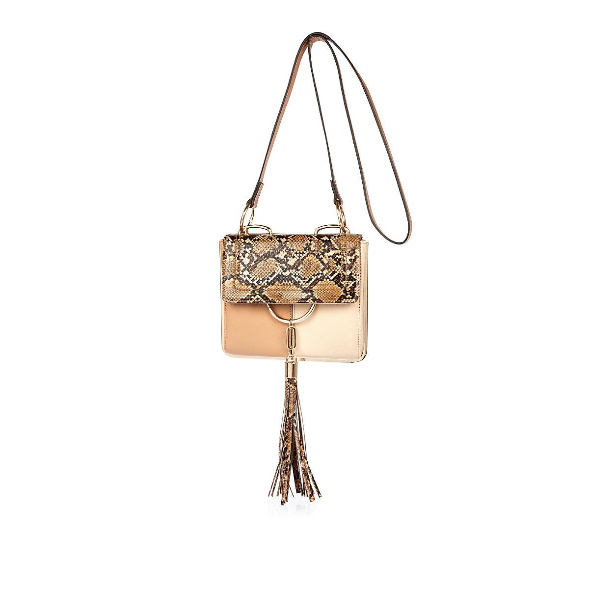 Beige snake print tassel front handbag