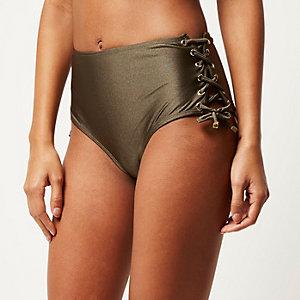 Khaki eyelet high rise bikini bottoms