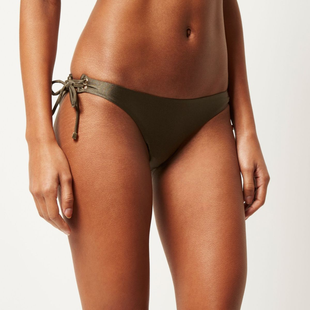 Khaki eyelet low rise bikini bottoms