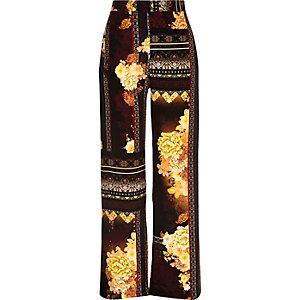 Orange floral print palazzo pants
