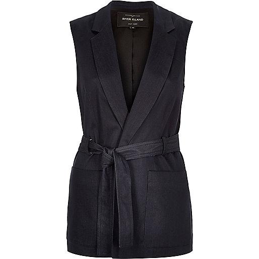 Navy denim sleeveless belted jacket