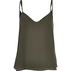 Khaki V-neck cami top