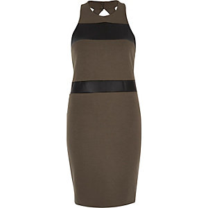Khaki colour block bodycon dress