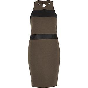 Khaki color block bodycon dress