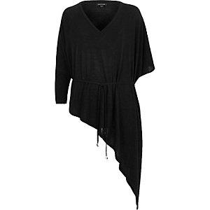 Black belted V-neck asymmetric knit top