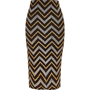 Black metallic zig zag pencil skirt