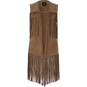 Light brown suede fringe vest