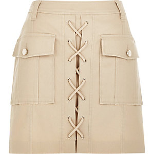 Nude lace-up utility mini skirt