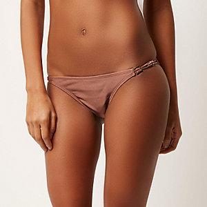 Bas de bikini beige à taille basse