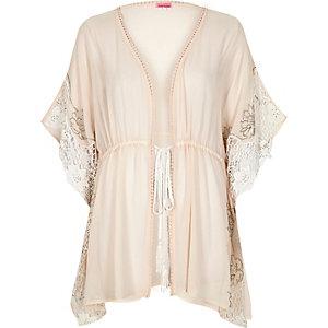 Light pink embellished sheer kimono