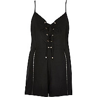 Black eyelet lace-up front playsuit