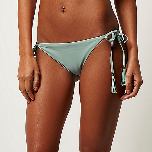 Light green tie side bikini bottoms