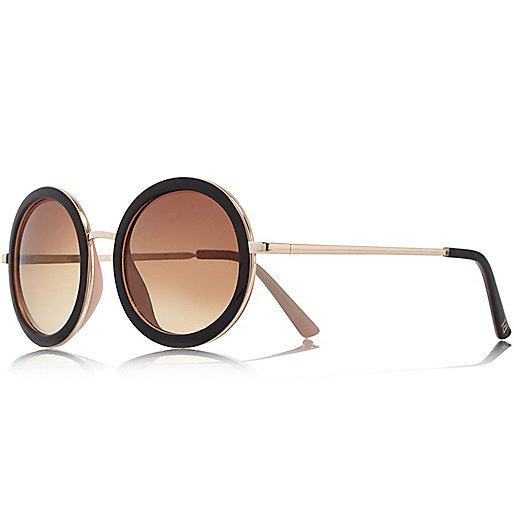 Gold tone black round sunglasses