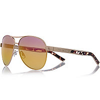 Gold mirrored aviator-style sunglasses