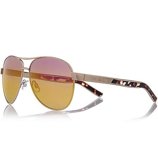 Goldene, verspiegelte Pilotensonnenbrille