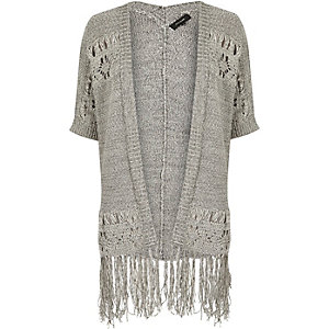 Grey knit crochet tassel cardigan