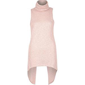 Light pink knitted cowl neck split back top